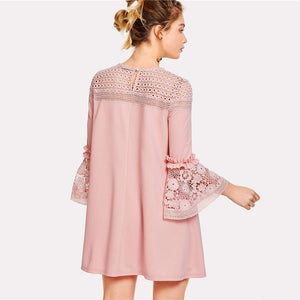 Crochet Lace Detail Frill Trim Dress