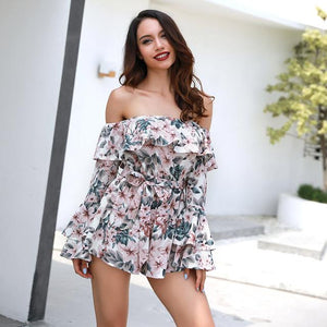 Floral Slash Neck Off Shoulder Romper