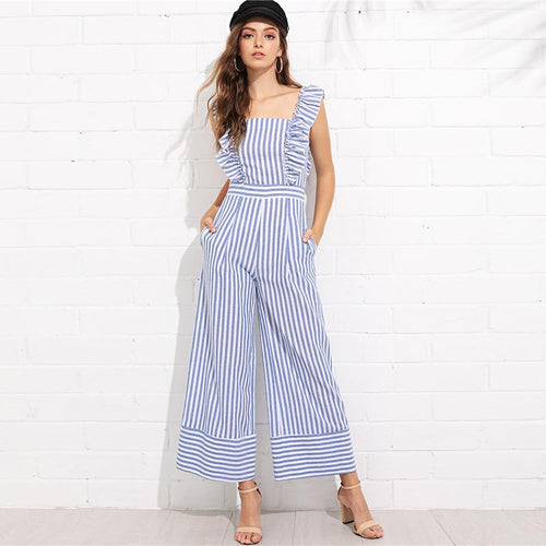 Backless Ruffle Trim Wide Leg Striped Jumpsuit