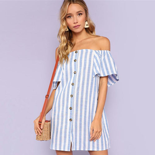 Striped Off Shoulder Button Up Short Sleeve Tunic Dress