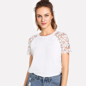Floral Lace Sleeve T-shirt