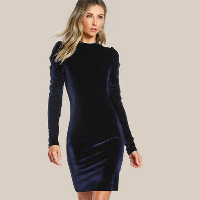 Puff Sleeve Velvet Pencil Dress