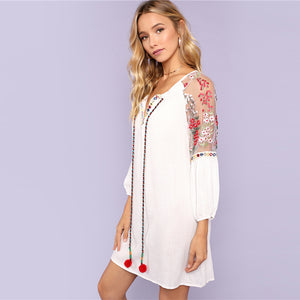 Embroidered Mesh Tunic Dress