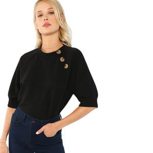 Button Front Raglan Sleeve Top