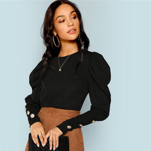 Puff Sleeve Button Detail Long Sleeve Solid Tee