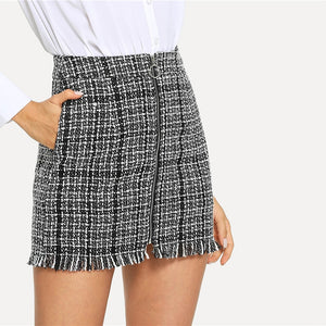Plaid Zip Front Frayed Tweed Skirt