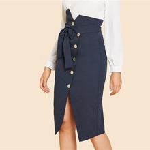Button Up  Belted Solid Sheath Skirt