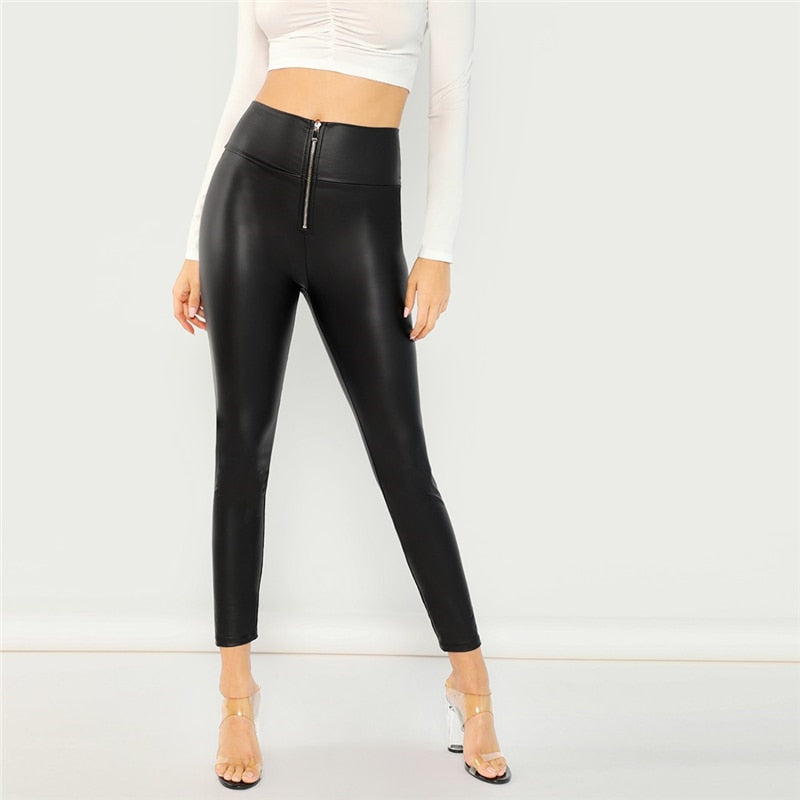 Black Zip Front Leggings