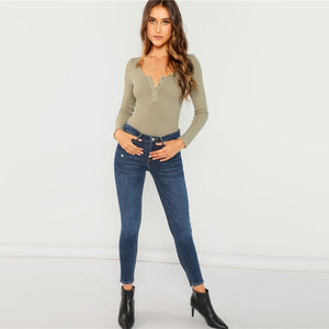Snap Button Neck Bodysuit