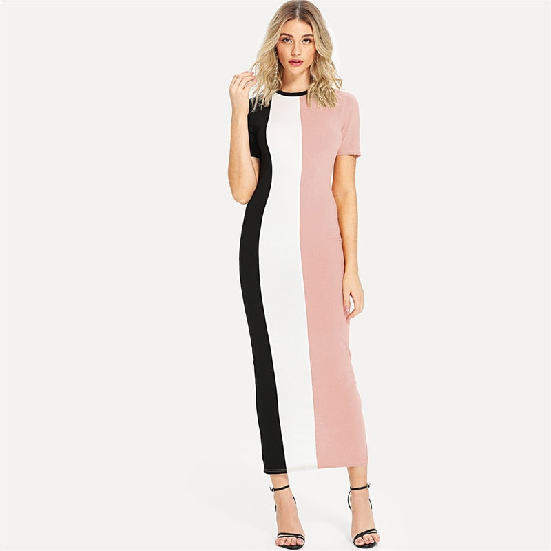Colorblock Skinny Dress