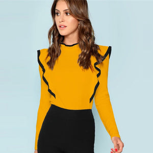 Ruffle Trim Long Sleeve Top