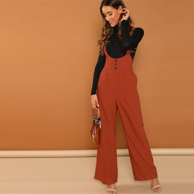 Buttoned Wide Jumpsuit