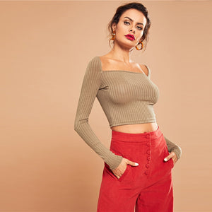 Crop Ribbed Knit Long Sleeve