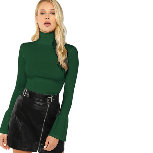 Army Green Bell Cuff Turtleneck