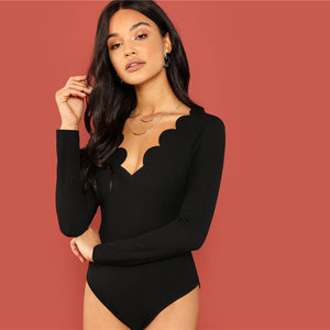 Black Scallop Trim Bodysuit