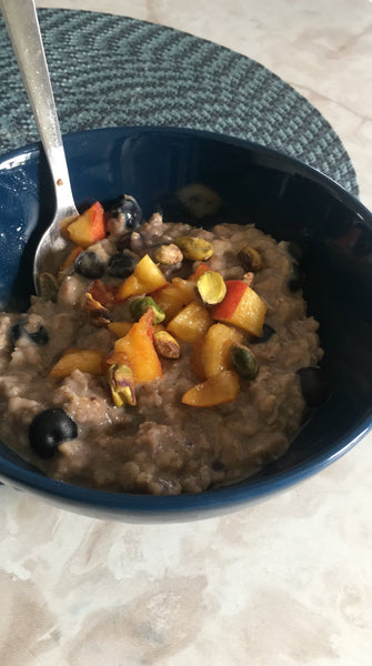 Decadent Peach, Blueberry Pistachio Steel Cut Oats