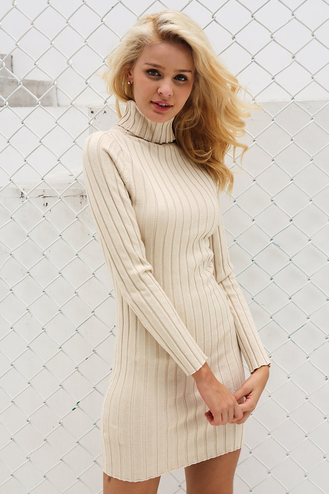 Casual turtleneck long knitted sweater dress