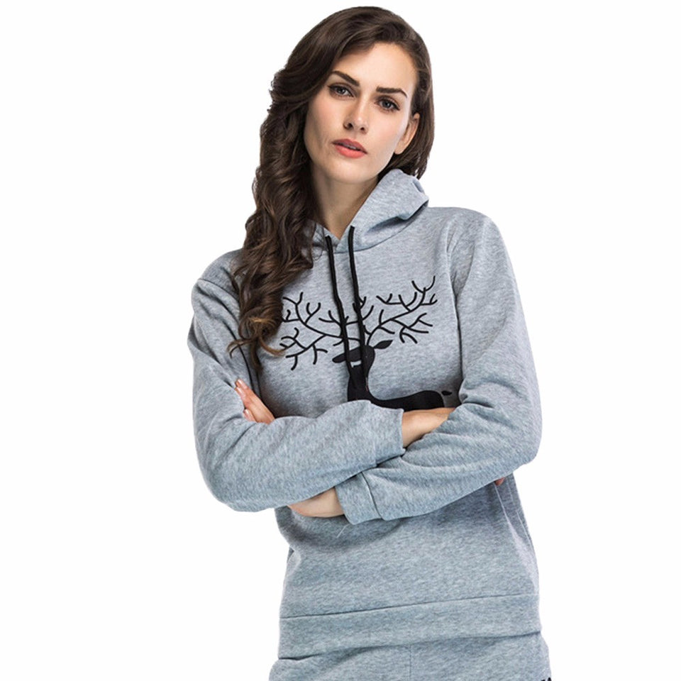Women Printed  Christmas Deer Long Sleeve Hooded Loose Blouse Casual Tops - Passionofcreation