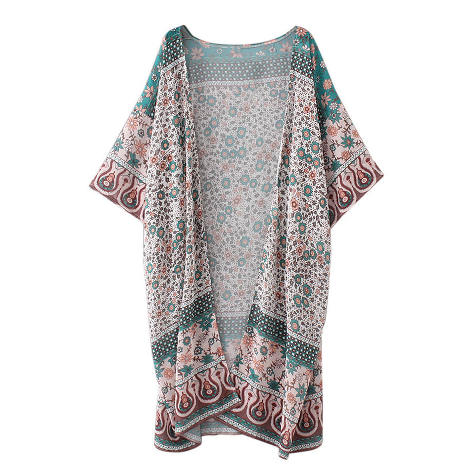 Women Floral Print Chiffon Loose Shawl Kimono Cardigan Top Cover up Shirt Blouse - Passionofcreation