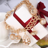 Woman Bracelets Mulitlayer Gold Chain Love Heart