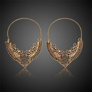 QIHE JEWELRY Ancient Silver Gold Color Tibetan Filigree Earring Boho jewelry Gypsy earrings collection Earrings for women