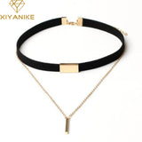 XIYANIKE New Black Velvet Choker Necklace Gold Chain Bar Chokers Necklace For Women collares mujer collier ras du cou N664 - Passionofcreation