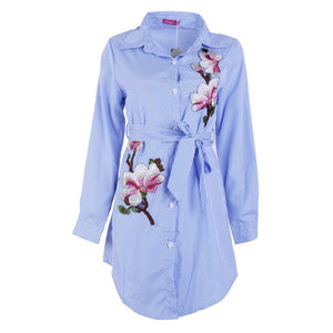 Embroidery Long Blue Blouse