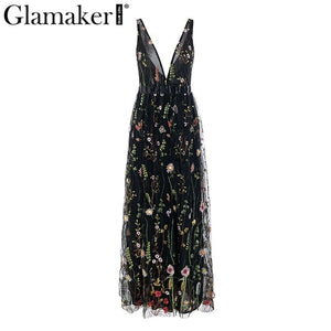 Vintage floral embroidery maxi dress
