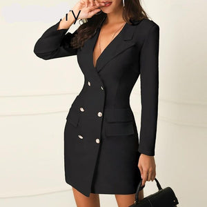 Sexy black double breasted blazer dress