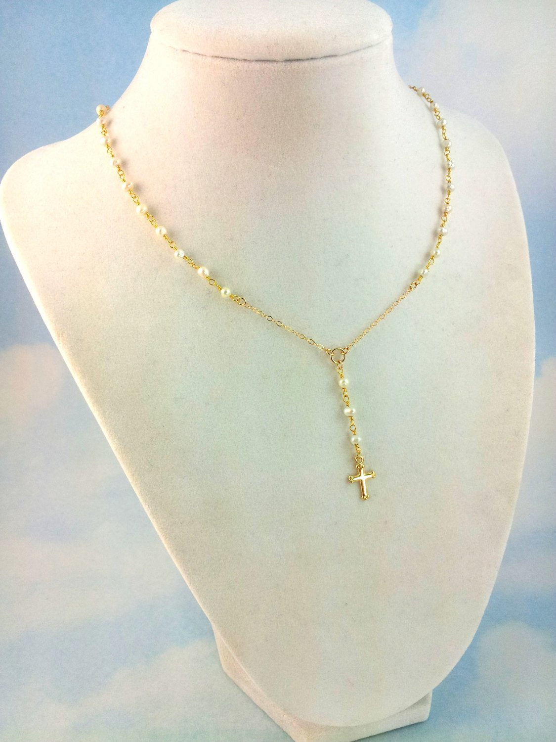 Little Girls Gold Rosary Necklace Pearl Cross Necklaces
