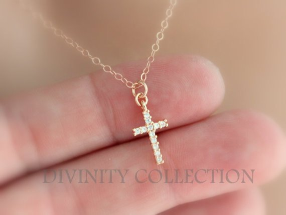 Rose Gold Filled Cross Necklace Small Tiny Dainty Crystal Pendant Wome