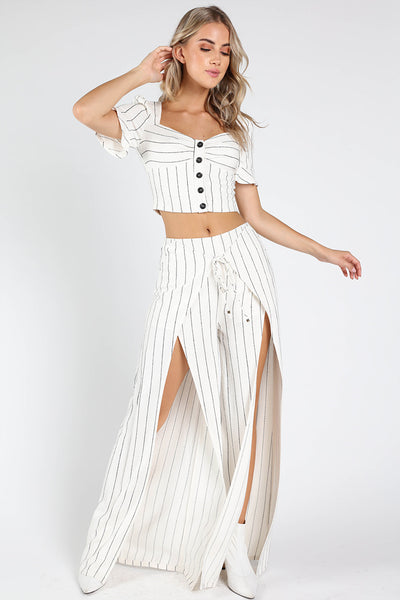 STRIPE BUTTON FRONT CROP + PANTS