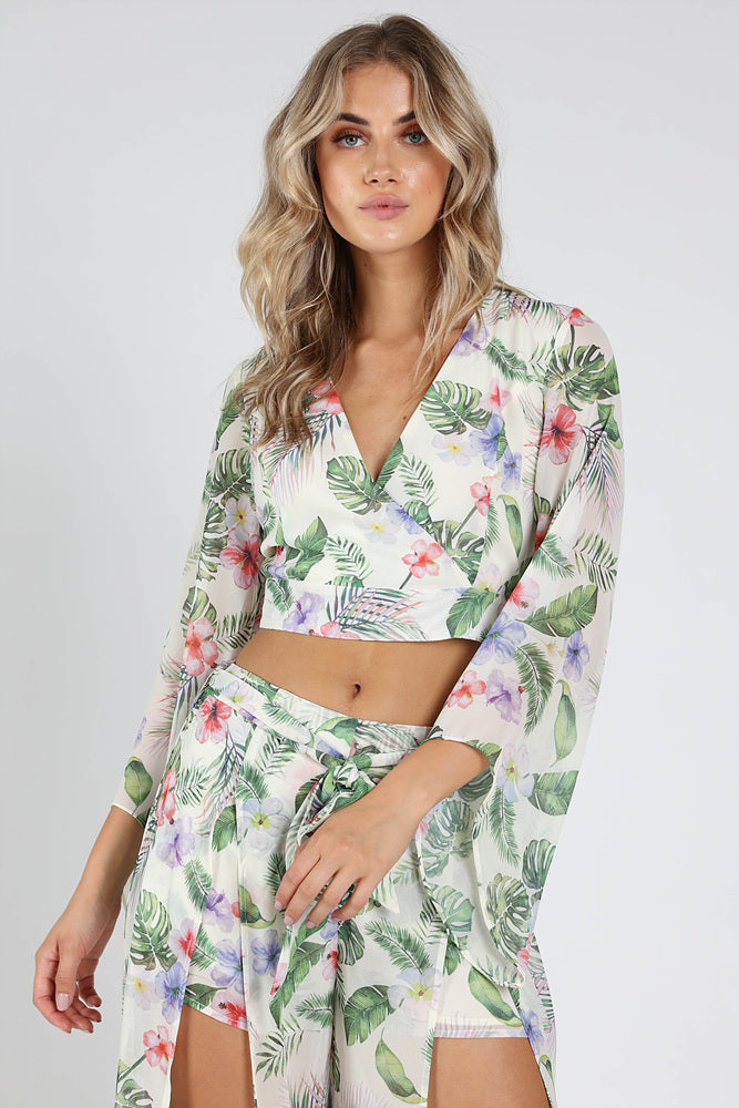 PALM PRINTED BUTTERFLY SLEEVE CROP TOP + PANTS