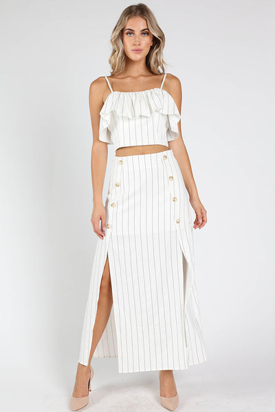 BACK ZIP RUFFLE STRIPE TANK TOP + MAXI SKIRT