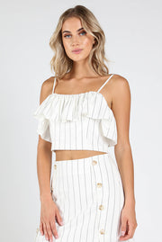 BACK ZIP RUFFLE STRIPE TANK TOP