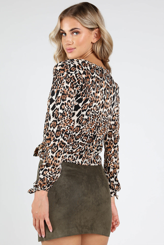 LEOPARD PRINT BUTTON DOWN WITH FRONT TIE