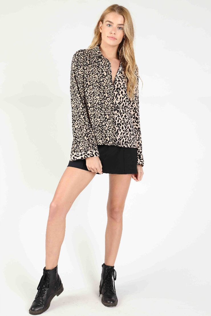 BUTTON DOWN ANIMAL PRINT BLOUSE