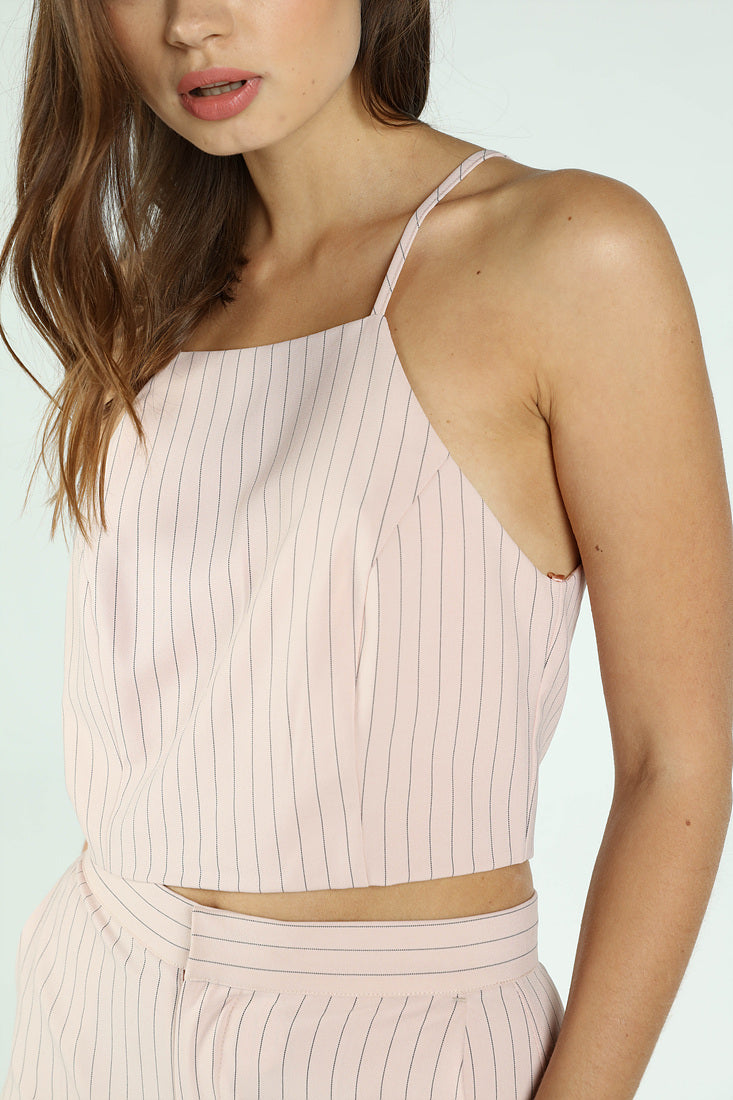 PINSTRIPE HALTER CROP TOP