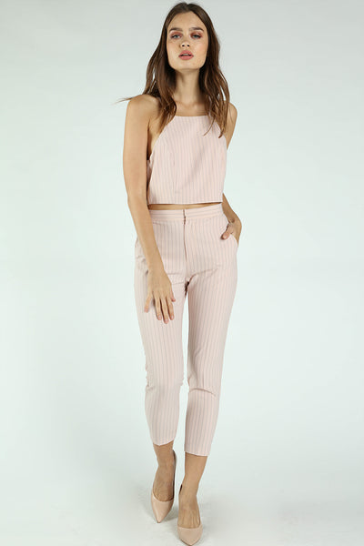 PINSTRIPE HALTER CROP TOP + PANTS