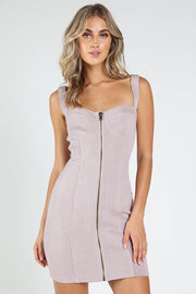 BUSTIER ZIP FRONT MINI DRESS
