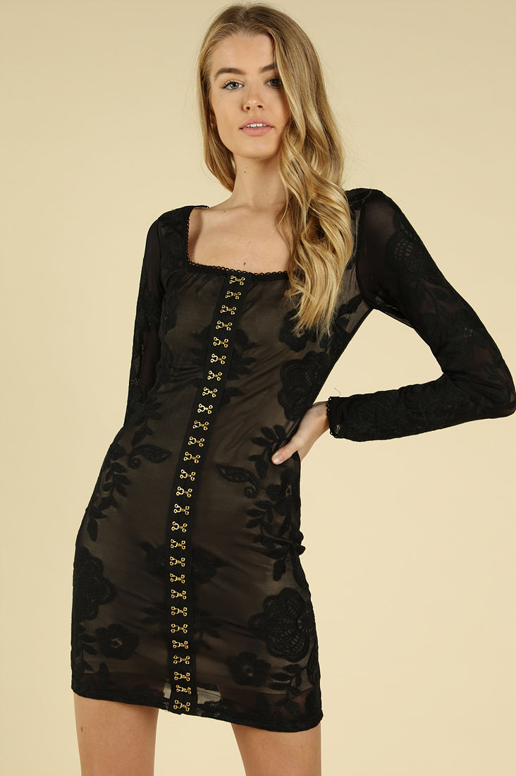 LACE BODYCON HOOK & EYE LONG SLEEVE DRESS