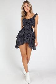 SIDE CUT OUT POLKA DOT DRESS