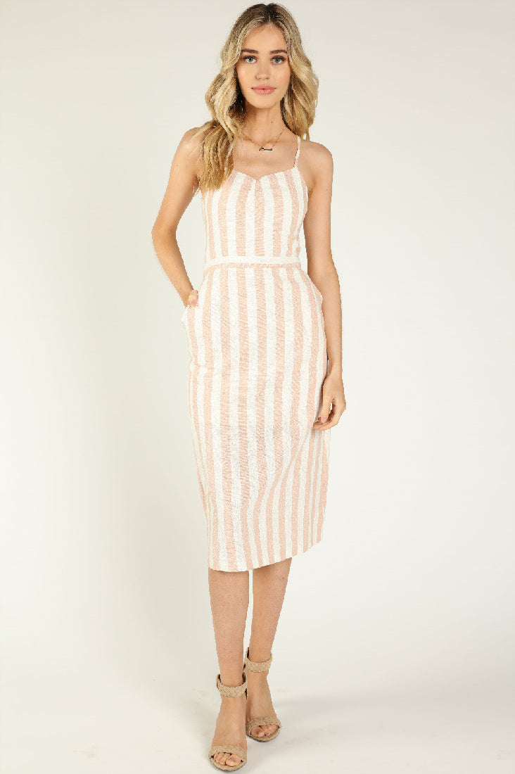 STRIPED CROSS BACK TANK MIDI DRESS WITH BACK DRAWSTRINGS