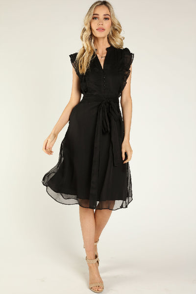 SHEER BELTED MIDI DRESS WITH RUFFLE SLEEVE