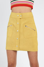 SUEDE-LIKE BUTTON DOWN MINI SKIRT WITH ZIPPER POCKET DETAIL