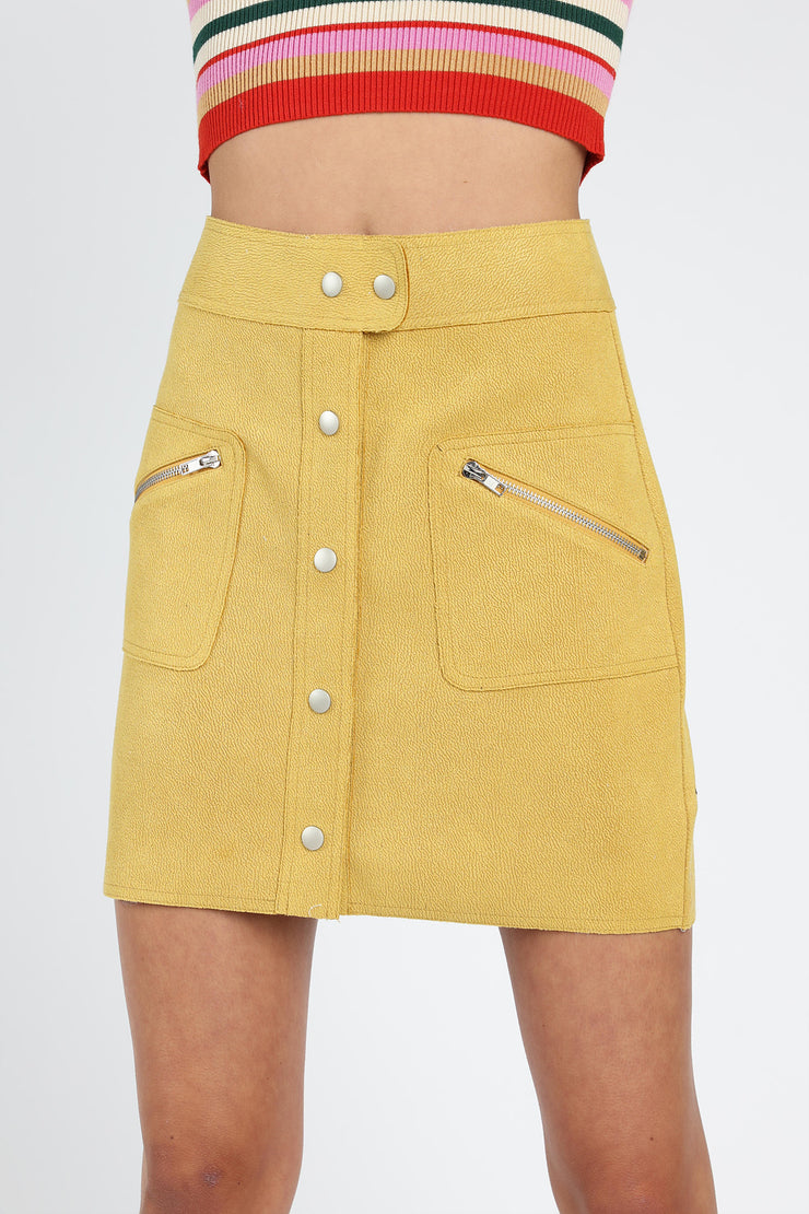 41b27e2887 SUEDE-LAKE BUTTON DOWN MINI SKIRT WITH ZIPPER POCKET DETAIL – HONEY ...