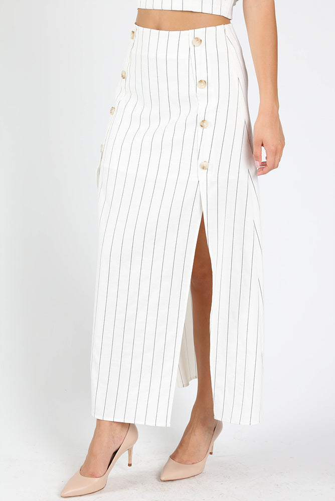 STRIPED SIDE BUTTON MAXI SKIRT