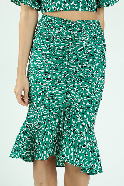 FRONT RUSCHED MERMAID MIDI SKIRT