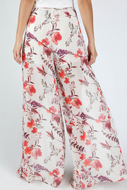 ROMANTIC FLORAL FRONT SLIT WOVEN PANTS