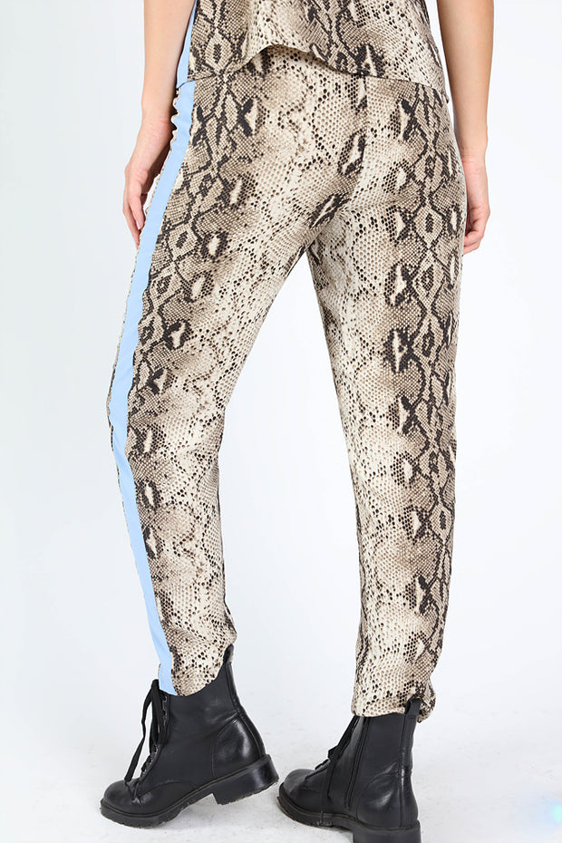 SIDE STRIPE SNAKE PRINTED PANTS